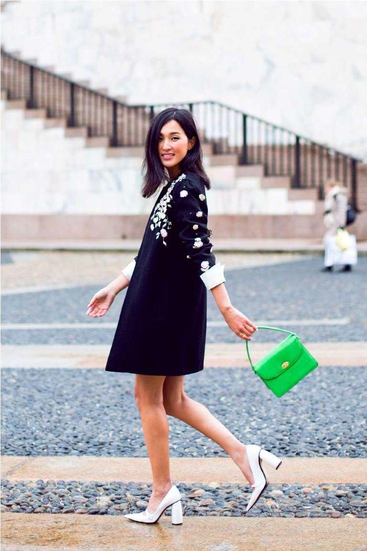 Borsa per vestito nero - Borsa verde e vestito nero