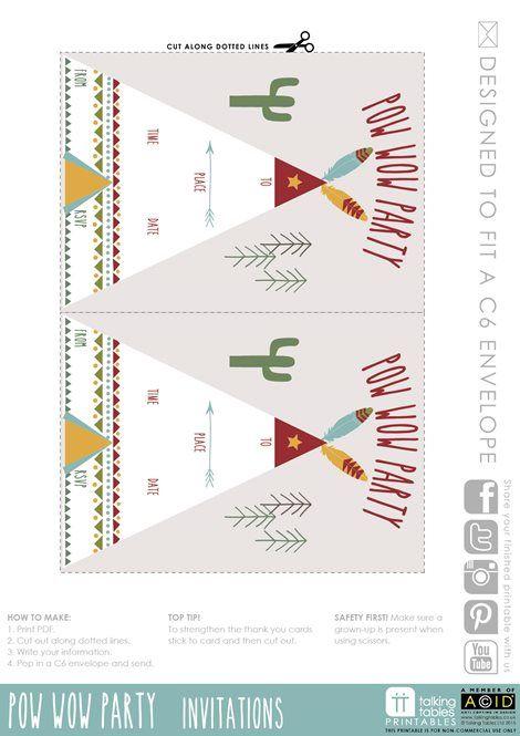 Pow Wow Party Free Printable - Invite