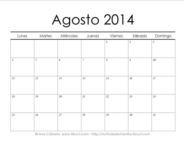 Calendarios 2014 simples para imprimir: Calendario Agosto 2014