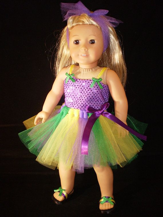 "18"" Doll Clothes American Girl or bitty baby Tutu skirt, shoes, top and headband Mardi Gras. $19.99, via Etsy."