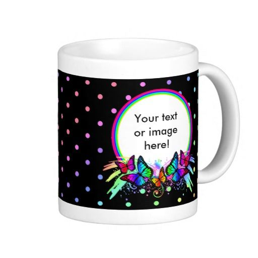 Black With Bright Rainbow Colors Butterflies Dots Coffee Mugs - This design features rainbow colored butterflies sitting on a rainbow frame with multicolored dots as the background. This would be a perfect gift for a best friend, or a wonderful birthday present or Christmas gift! Personalize it and add your own photo, picture, image name or text.