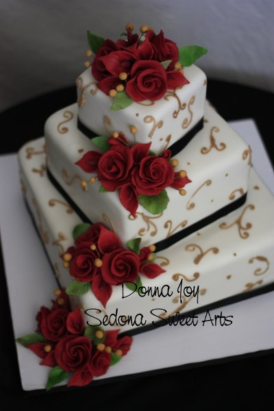 offset Fondant square wedding cake with red roses love but with silver or purple or white frosting design