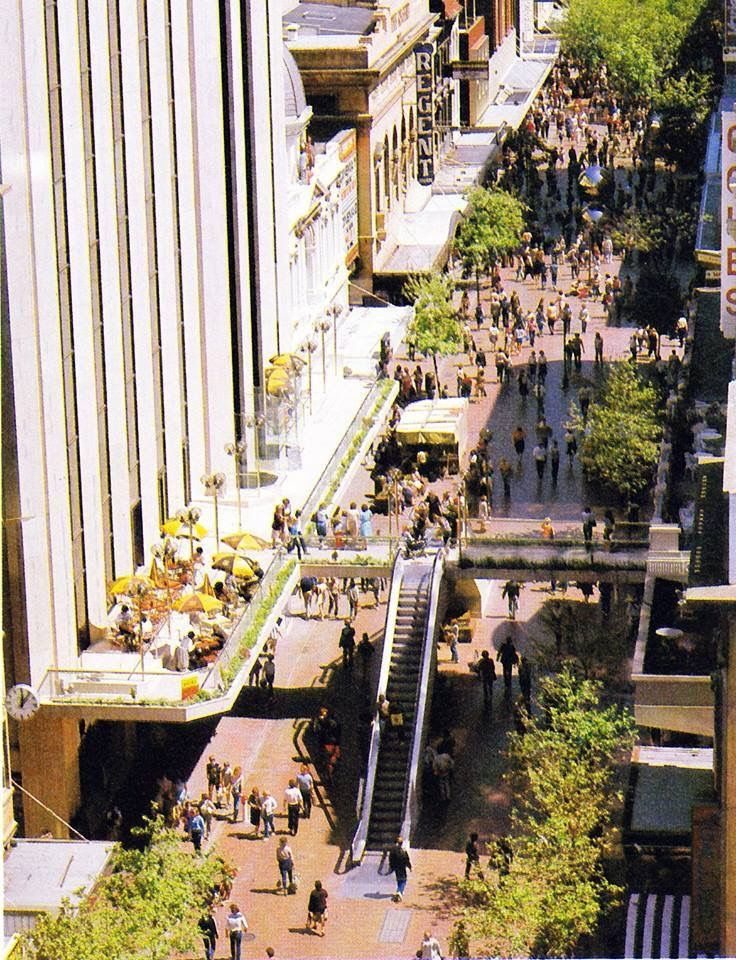 Rundle Mall South Australia. How green it was then! Boy George & Culture Club appeared  on that balcony in 1984. Escalator now long gone.