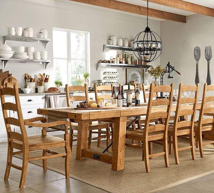 Pottery Barn Benchwright Extending Table Wynn Chair Dining Set