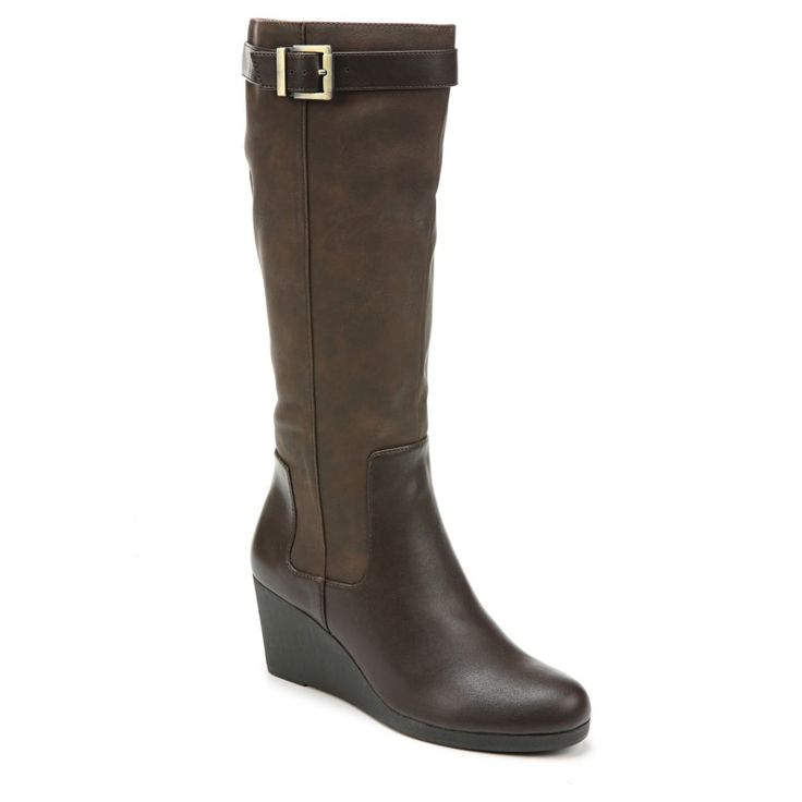 Lifestride Women's Navia Wide Calf Medium/Wide Wedge Boots (Dark Brown)