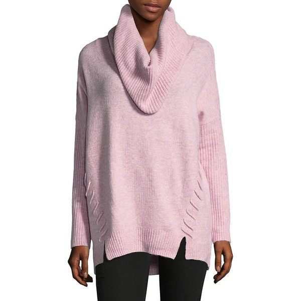 Miss Selfridge Women's Slouchy Cowlneck Sweater ($40) ❤ liked on Polyvore featuring tops, sweaters, pink, pink top, print top, slouchy sweater, string top and slouchy tops