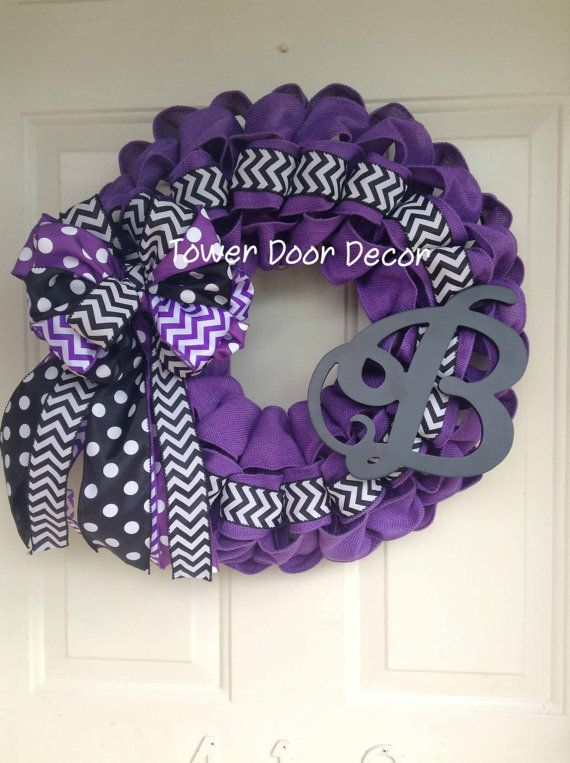 Black and Purple Ravens Wreath with Initial by TowerDoorDecor