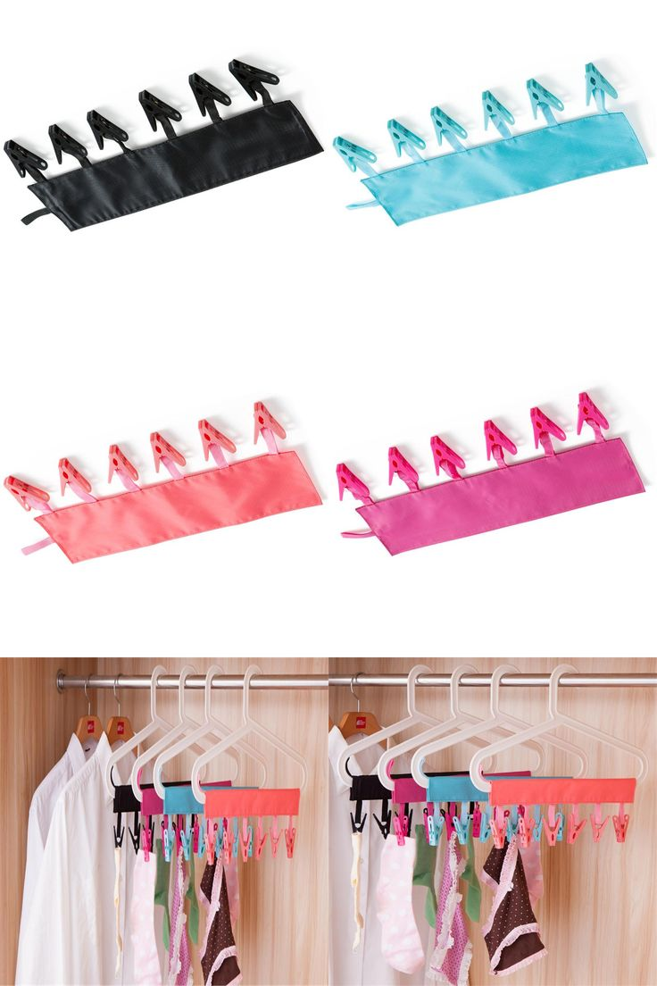 [Visit to Buy] 1pcs Portable Folding Clothing Coat Hanger Travel Foldable Hanger With Clips #Advertisement