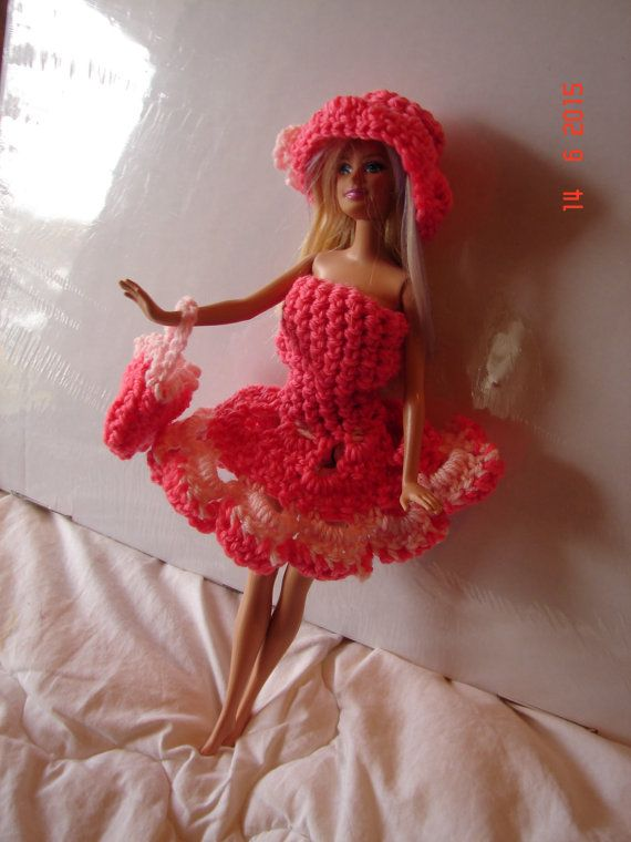 Hand Crocheted Barbie sized Doll Outfit dress by SarahRajkotwala