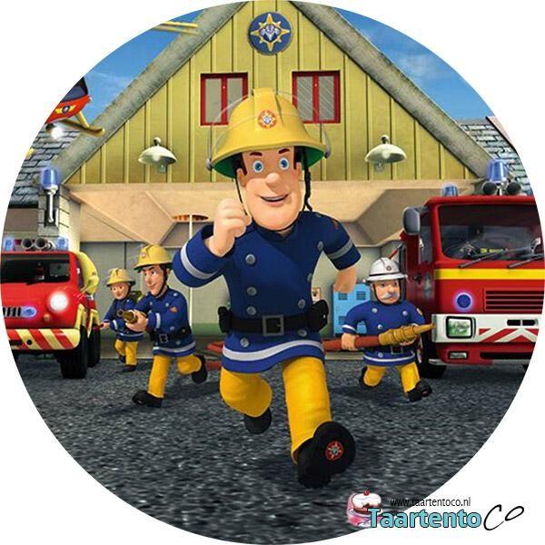 Taartentoco Eetbare print Brandweerman Sam Kazerne Rond
