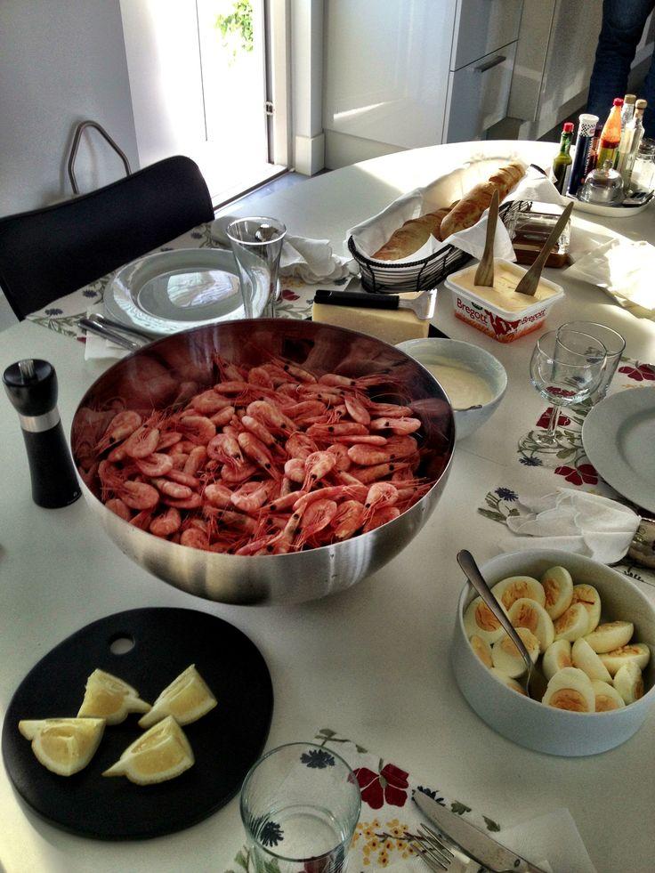 Shrimp #Smögenräkor, homemade baguette & aioli #shrimp #Smögen #räkor #sweden