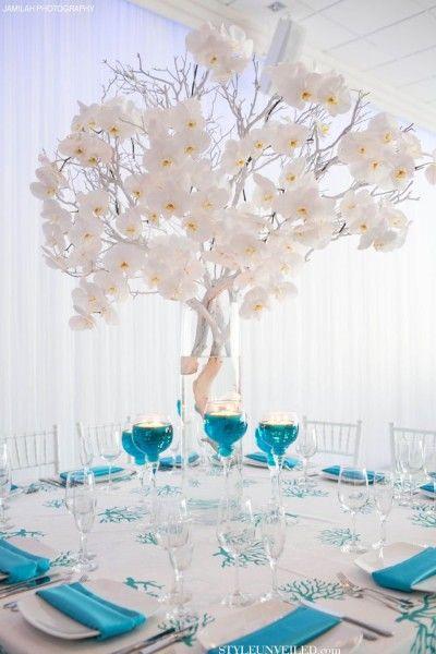 idées mariage turquoise blanc déco table centre table floral bougies carnet d'inspiration mariage mademoiselle cereza