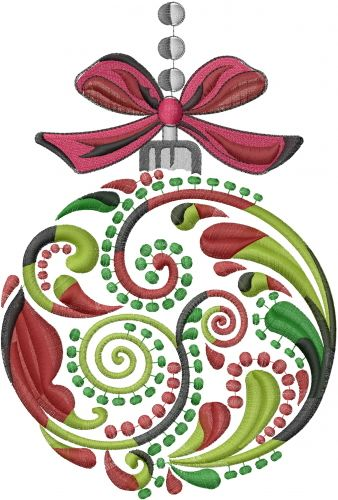 "Large Christmas Ornament embroidery design - 8.86""H x 5.97""W"