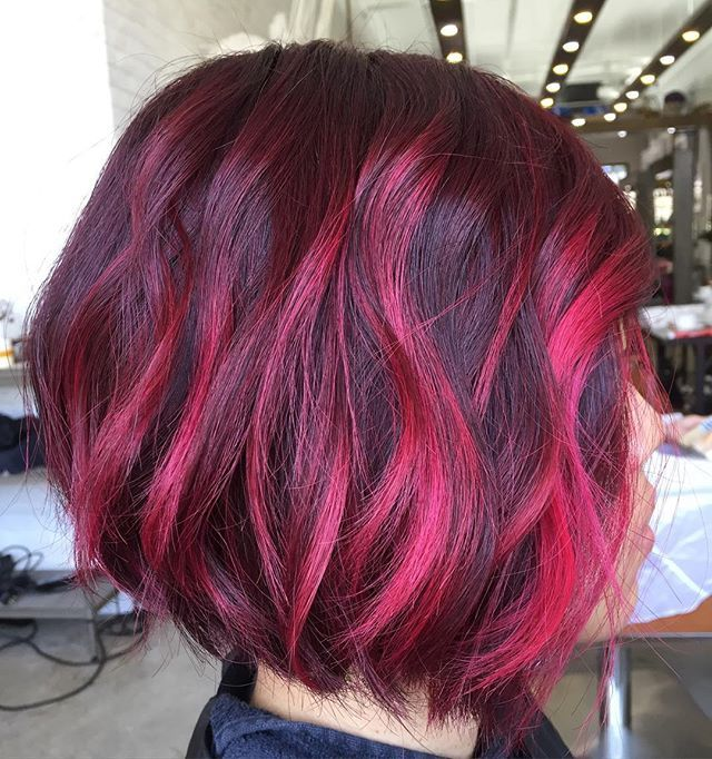Lipstick Pink Color Highlights | Hair ideas | Pinterest ...
