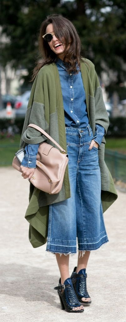 Spring / Summer Paris Fashion Week street style inspiration: jean culottes plus a denim shirt and edgy sandals.