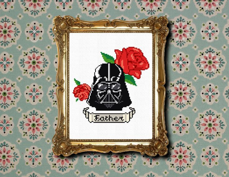 Darth Vader tattoo cross stitch PDF pattern. £2.50, via Etsy.