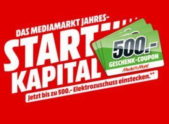 Mediamarkt: Gutscheine im Wert von bis zu 500 Euro zum Kauf geschenkt https://www.discountfan.de/artikel/technik_und_haushalt/mediamarkt-gutscheine-im-wert-von-bis-zu-500-euro-zum-kauf-geschenkt.php Beim Mediamarkt gibt es ab sofort Startkapital fürs neue Jahr 2018. Konkret heißt das: Je nach Einkaufswert gibt es einen Gutschein in Höhe von 40 bis 500 Euro geschenkt. Mediamarkt: Gutscheine im Wert von bis zu 500 Euro zum Kauf geschenkt (Bild: Mediamarkt.de) Das Startkapi