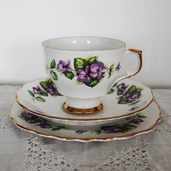 Vintage English Tea trio Violet floral pattern Crown Regent