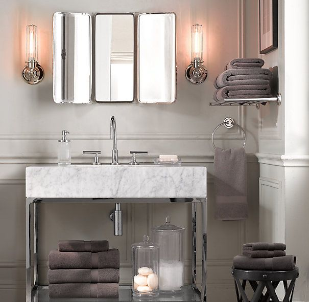 Restoration Hardware Bathroom Vanity Knockoff: Hudson Metal Single Frame Washstand. Restoration Hardware