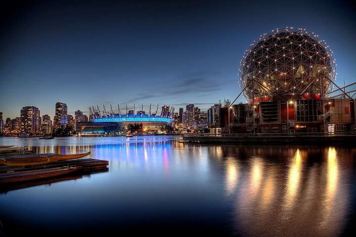 Vancouver skyline, Science World and BC Place