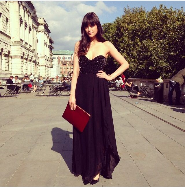 Lilah Parsons wears our clutch in Wine Pony at LFW.  http://www.baukjen.com/uk/shop/baukjen/accessories/baukjen-clutch-wine-pony.htm