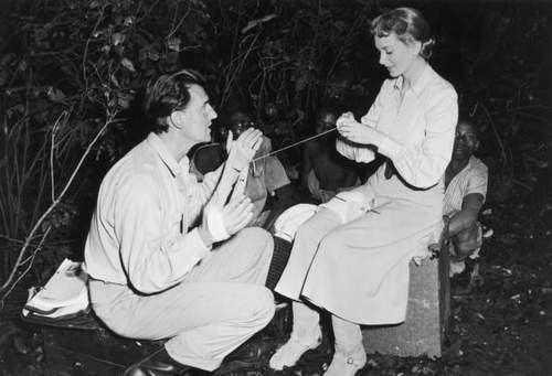 Deborah Kerr is assisted by Stewart Granger on the set of King Solomon's Mines
