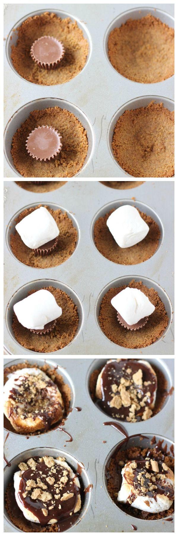 Peanut Butter S'mores Cups - via Blahnik Baker