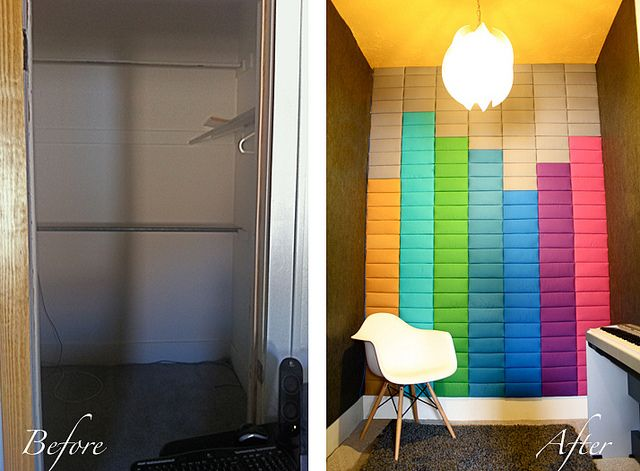 I created this focal wall by padding and upholstering rectangles with different colored fabrics. The rectangles were cut from duct board for acoustic purposes. I attached the pieces to the wall with industrial strength velcro.