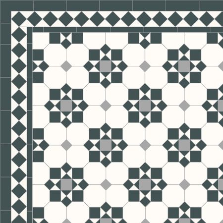 traditional brasserie mosaic tile floor pattern | Mosaic Victorian tile design: Cornwall - multi coloured, traditional ...