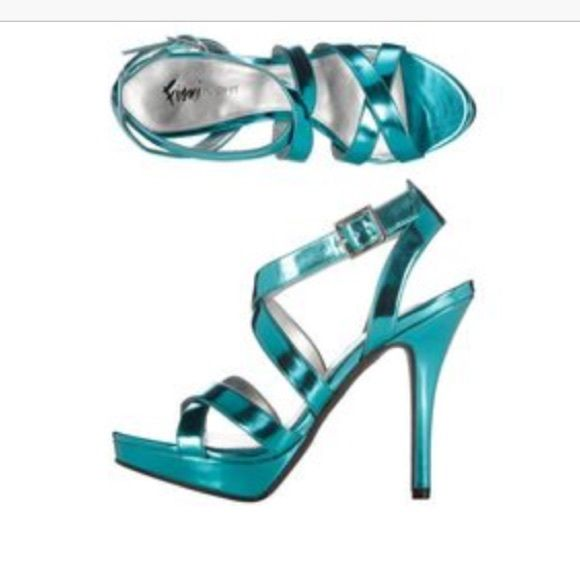 FIONI Night Lolita Teal Sandal Good condition - only worn a couple times. Please feel free to leave a comment with any questions or to negotiate the price! FIONI Clothing Shoes Heels