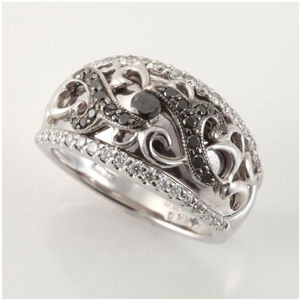 【中古】K18WG ブラックダイヤモンド リング/下のホワイトダイヤがセンターのブラックダイヤのデザインを目立たせている逸品。/新品同様・極美品・美品の中古ブランド時計を格安で提供いたします。