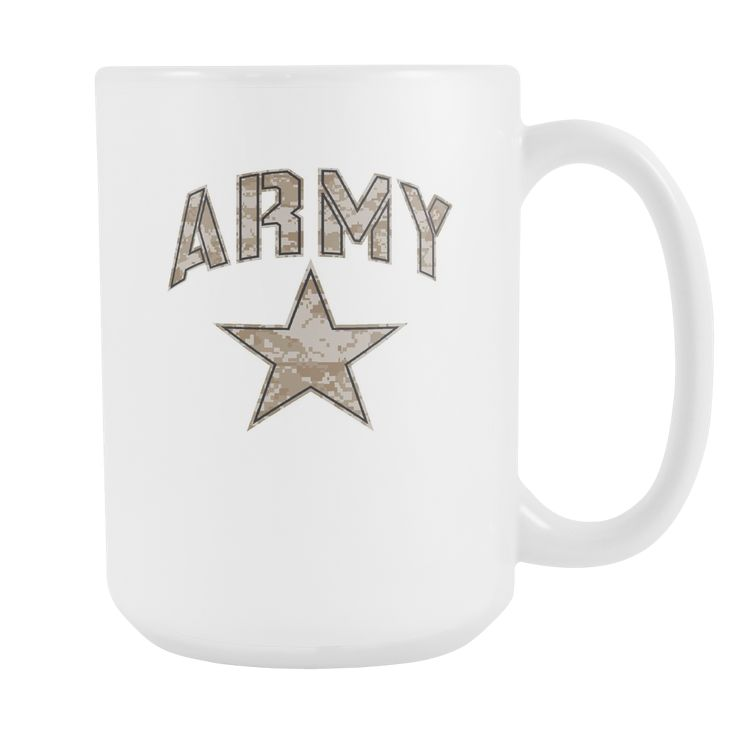 Army Coffee Mug (Camo Design on White Cup)
