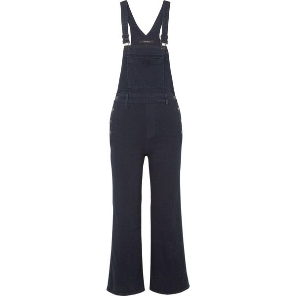J Brand Cropped stretch-denim flared overalls (3,780 HKD) ❤ liked on Polyvore featuring jumpsuits, polka dot jumpsuits, dark denim overalls, slim overalls, overalls jumpsuit and polka dot overalls