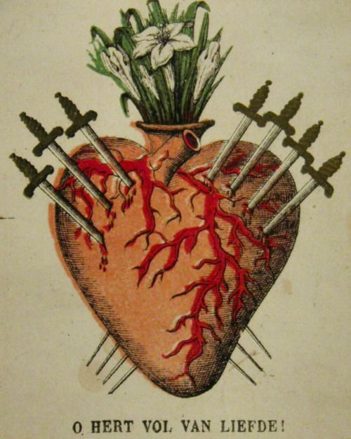O heart full of love!A Belgian holy card of the Sorrowful Heart of Mary.