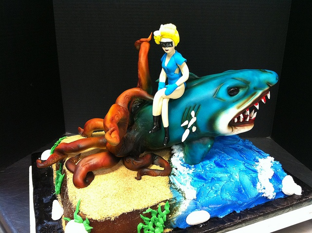 Sharktopus and Lady Gaga Beach Cake