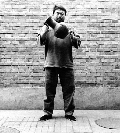 AI WEIWEI, Dropping a Han Dynasty Urn, 1995, three gelatin silver prints, each 148 × 121 cm. Courtesy the artist.