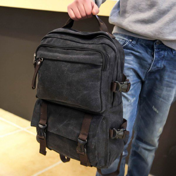 Casual Canvas and Zipper Design Men's Backpack