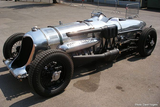 1933 Napier-Railton  W12 cylinder w/ triple exhaust, 24 liter (1,461 cu in) producing 500 power power. Crash gear box w/ three ratio's and a 65 gallon fuel tank! Capable of 168 mph w/ only rear brakes.Talk about separating the boys from the men. That is a serious car!