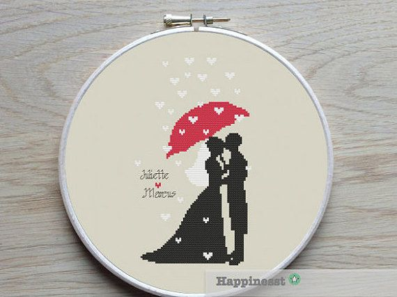 A modern wedding pattern, bride and groom raining love.  PLEASE NOTE : This is a Do-It-Yourself Customizable pattern. It can be personalized with bride and grooms name and (optional) the wedding date, a full alphabet and numbers chart is included with your purchase.  The pattern comes as a PDF file that youll will be able to download immediately after purchase. In addition the PDF files are available in you Etsy account, under My Account and then Purchase after payment has been cleared. You…