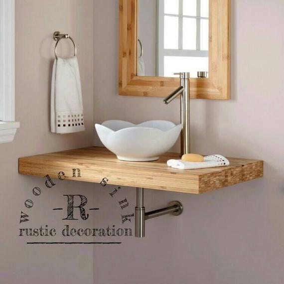 Rustic Bathroom Decoration, wood bathroom countertops, wooden table sink, American Style medieval Custom Bathroom Sink