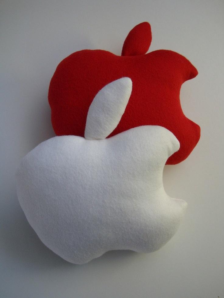 Mini Wannabe White Apple Cushion by FromMyBrainShop on Etsy