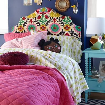 """Kids Headboards: Kids Arched Patterned Headboards in Beds - For Paige's room in """"Pink ZigZag"""" color/pattern"""