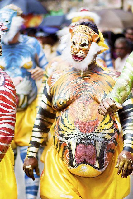 The  Very Colorful Puli Kali Walk at Onam Athachamayam 2012 Tripunithura Kerala India by Poonam Parihar, via Flickr
