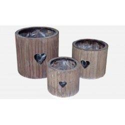 Διακοσμητικό Ξύλινο Στρογγυλο Κυλινδρικό κασπώ καρδιά  Διάσταση:15.5cm x 14.5cm - 12.5cm x 10.5cm   - 10cm x 8.5cm