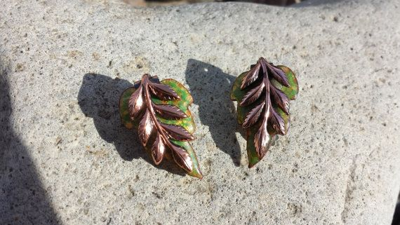 Copper Leaf Clip On Earrings Hallmarked Matisse by themagickcat