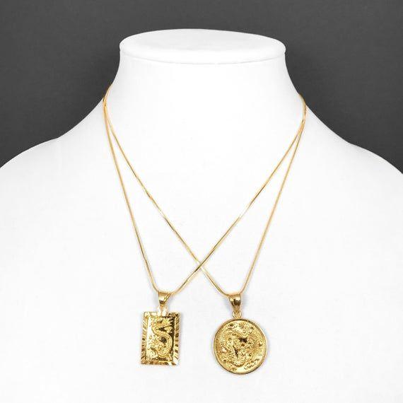 18k Gold Filled Medallion Pendant Necklace Circle Or Square Etsy Gold Medallion Necklace Square Necklace Gold Chains For Men