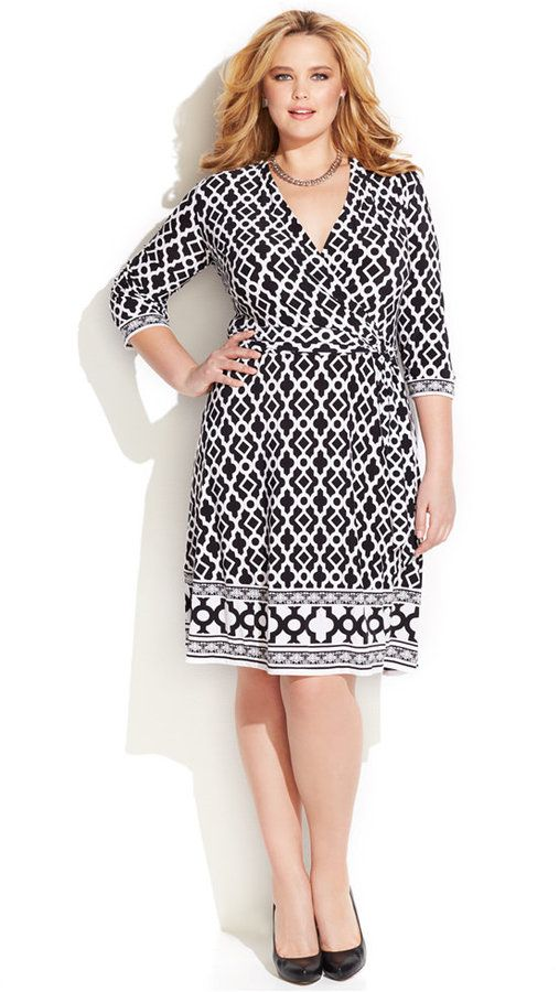 Plus Size Geo-Print Faux-Wrap Dress