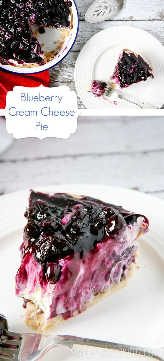 Blueberry Cream Cheese Pie Recipe by Sweet2EatBaking.com | A flaky shortcrust cream cheese pastry base lined with chopped pecans, filled with a whipped cream and cream cheese mixture, then topped with a fresh tangy homemade blueberry filling. The perfect