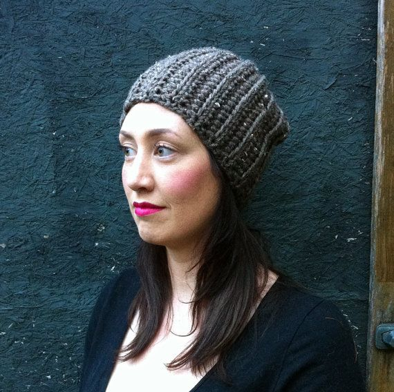 Chunky Slouchy Ribbed Toque Hat Vegan / BARLEY / by ZiemaCraft