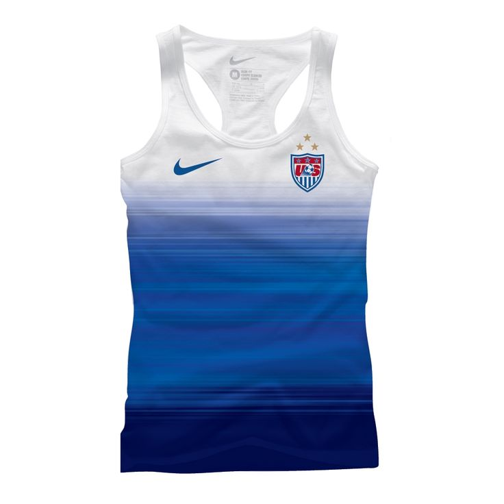 The 3rd Star above the crest shows off the 3rd title for the USWNT. The World Cup champions tank top uses the color scheme of the USA Away jersey to show your US soccer love. Get your tank top today at SoccerCorner.com  http://www.soccercorner.com/Nike-USA-Women-s-World-Cup-Match-Women-s-Tank-p/ttwni00034462.htm